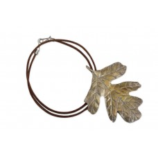 Brown Leather Collar with Fig Leaf