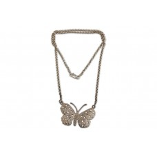 Engraved Butterfly Silver Necklace