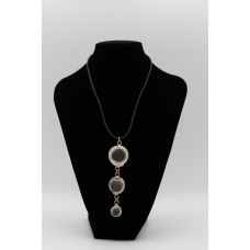 Leather Necklace with 3 Circular Stones & Silver Pendant