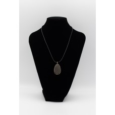Leather Necklace with Basalt Pendant Silver