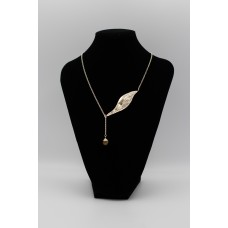 Oleander Leaf & Stone Silver Necklace