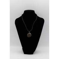 Black Leather Necklace with Basalt Stone