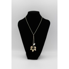 Mallow Stem with Stone Pendant Silver Necklace